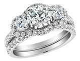 Three Stone Diamond Engagement Ring & Wedding Band Set  2.30 Carat (ctw) (1.0 Center) in 14K White Gold