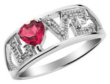 Created Ruby Love Ring with Diamonds 2/5 Carat (ctw) in Sterling Silver