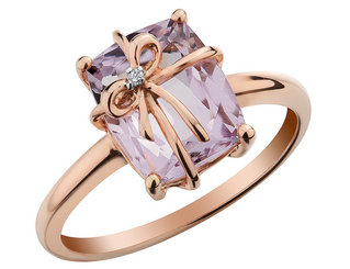 Pink Amethyst Ring with Diamond 2.5 Carat (ctw) in 10K Rose Pink Gold