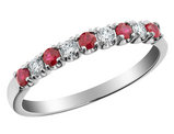 Ruby Ring with Diamonds 1/4 Carat (ctw) in 10K White Gold