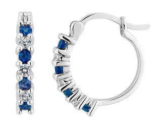 Created White and Blue Sapphire Hoop Earrings 1/2 Carat (ctw) in Sterling Silver