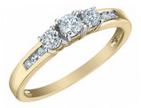 Three Stone Diamond Engagement Ring 1/2 Carat (ctw) in 10K Yellow Gold