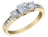 Three Stone Diamond Engagement Ring 3/4 Carat (ctw) in 10K Yellow Gold