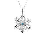 Large Blue Diamond Snowflake Pendant Necklace in Sterling Silver with Chain (1 inch)