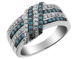 White and Blue Diamond Ring 1/2 Carat (ctw) in Sterling Silver