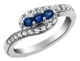Created White and Blue Sapphire Ring 1/2 Carat (ctw) in Sterling Silver