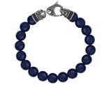 David Sigal Men's 10mm Matte Blue Onyx Dragon Bracelet with Synthetic Black Crystals