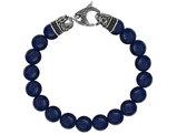 David Sigal Men's 10mm Matte Blue Onyx Dragon Bracelet with Black Crystals