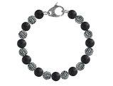 David Sigal Men's 10mm Matte Black Onyx Dragon Bracelet with Black Crystals