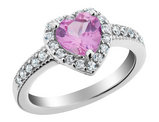 Created Pink Sapphire Heart Ring with White Sapphire 2.0 Carat (ctw) in Sterling Silver