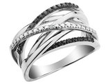 White and Black Diamond Cocktail Ring in Sterling Silver