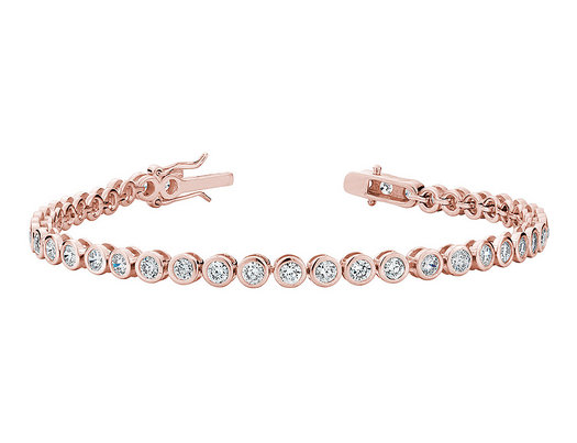 Created White Topaz Tennis Bracelet 4.0 Carat (ctw) in Sterling Silver with Rose Gold Plating
