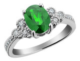 Emerald Ring with Diamonds 1.25 Carat (ctw) in 10K White Gold