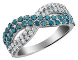 White and Blue Diamond Infinity Ring 1.0 Carat (ctw) in 10K White Gold