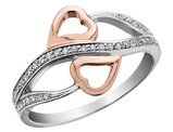 Diamond Heart Promise Ring 1/10 Carat (ctw) in 10K White and Rose Gold
