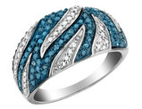 White and Blue Diamond Cocktail Ring 1/10 Carat (ctw) in Sterling Silver