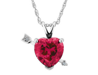 Created Ruby Cupid's Arrow Heart Pendant Necklace 2.0 Carat (ctw) with Diamond Accent in Sterling Silver with Chain