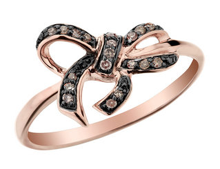 Champagne Diamond Forget Me Knot Bow Ring 1/10 Carat (ctw) in 10K Rose Gold