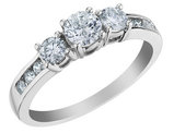 Three Stone Diamond Engagement Ring and Anniversary Ring 1.0 Carat (ctw) in 10K White Gold