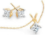 Princess Diamond Solitaire Necklace & Stud Earrings Set 1.0 Carat (ctw) in 10K Yellow Gold