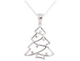 Christmas Tree Pendant Necklace with Diamond Accent in Sterling Silver with Chain
