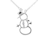 Snowman Pendant Necklace with Diamond Accent in Sterling Silver with Chain