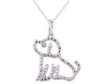 Dog Pendant Necklace with Diamond Accent in Sterling Silver with Chain