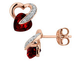 Garnet Heart Earrings with Diamonds 1.12 Carats (ctw) in 10K Rose Gold