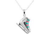 Figure Skate Pendant Necklace with Diamond Accent in Sterling Silver with Chain