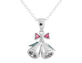 Christmas Bell Pendant Necklace with Diamond Accent in Sterling Silver with Chain