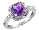 Amethyst and Diamond Ring 1.75 Carat (ctw) in Sterling Silver