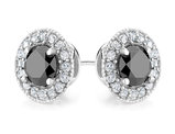 Black Diamond and White Topaz Halo Stud Earrings 1.0 Carat (ctw) in Sterling Silver