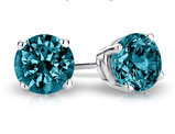 Blue Solitaire Diamond Stud Earrings 1.0 Carat (ctw) in 14K White Gold
