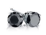 Black Diamond Stud Earrings 4.0 Carats (ctw) in Sterling Silver