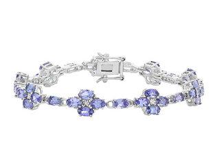 Tanzanite Flower Bracelet 8.00 Carat (ctw)  in Sterling Silver