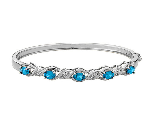 Created Blue Topaz Bangle with Diamonds in Sterling Silver
