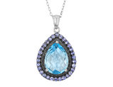 Blue Topaz and Tanzanite Pendant Necklace in Sterling Silver with chain