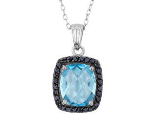 Blue Topaz and Midnight Blue Sapphire Pendant Necklace in Sterling Silver