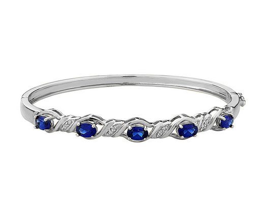 Created Blue Sapphire Bangle with Diamonds in Sterling Silver