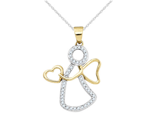 Angel of Love Diamond Pendant Necklace 1/10 Carat (ctw) 10K Yellow Gold with Chain