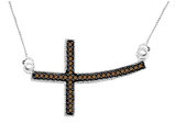 Champagne Diamond Sideways Cross Pendant Necklace 1/4 Carat (ctw) in Sterling Silver with Chain