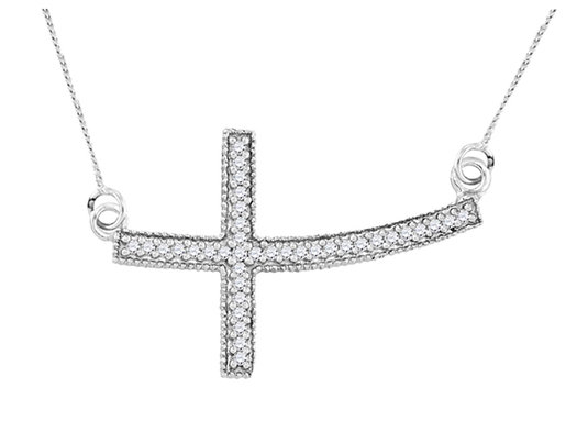 Diamond Sideways Cross Pendant Necklace 1/5 Carat (ctw) Sterling Silver with Chain