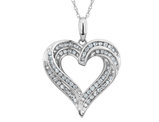 Diamond Heart Pendant Necklace 1/2 Carat (ctw) in 10K White Gold with Chain