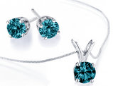 Blue Diamond Necklace and Earring Set 1.0 Carat (ctw) in 14K White Gold