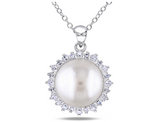 Freshwater Cultured 11-12mm Button Pearl Pendant with White Topaz in Sterling Silver with chain
