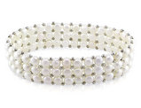 Triple Row Freshwater Cultured Pearl White Button 5-5.5mm Pearl Stretch Bracelet (7 inch) with Silver Beads