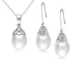 Freshwater Cultured Rice Pearl 9-10mm Drop Earrings and Pendant Necklace in Silver Plating with Chain