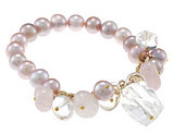 Pink Pearl 9-10mm and Mutlicolor Quartz Stretch Bracelet