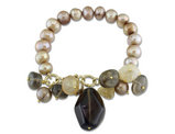Gold Pearl 9-10mm and Multicolor Quartz Stretch Bracelet