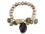Gold Pearl 9-10mm and Multicolor Quartz Stretch Bracelet